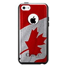 CUSTOM Black OtterBox Commuter Series Case for Apple iPhone 5C - Red White Canadian Flag Canada