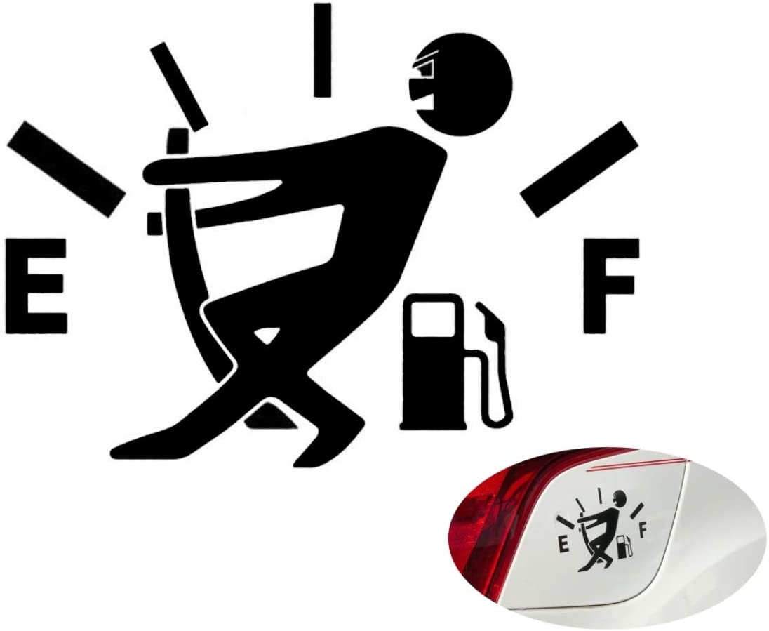 Black VulgrCo Funny Car Stickers High Gas Consumption Decal Fuel Gage Empty Decal For your Vehicle Automobile