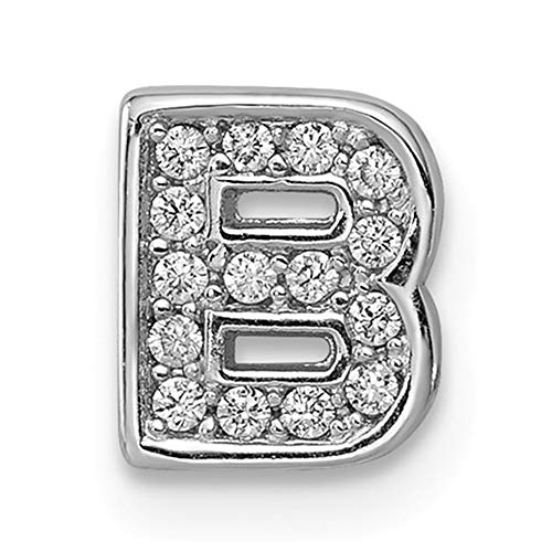 (Solid .925 Sterling Silver Rhodium plated CZ Letter B Slide Charm)