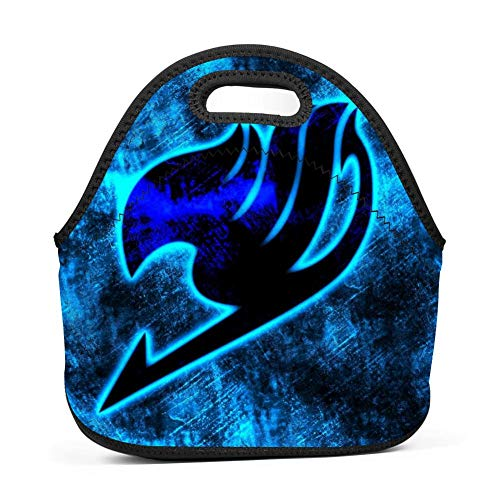 BLKDA25B Resistant Portable Lunch Bag Fairy Tail Logo Carry Case Tote with Zipper Strap Box Cooler Container Bags Picnic Outdoor Travel Fashionable Handbag Pouch for Women Men Kids Girls