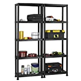 VonHaus 5 Tier Garage Shelving Unit with Wall Brackets (Pack of 2) - Black Plastic Interlocking Utility Storage Shelves - Each Unit: 68 x 24 x 12 inches