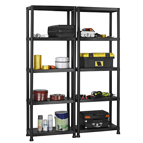 VonHaus 5 Tier Garage Shelving Unit with Wall Brackets (Pack of 2) - Heavy Duty Black Plastic Interlocking Utility Storage Shelves - Each Unit: 68 x 24 x 12 inches