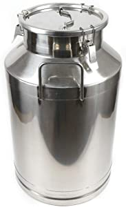 Milk Can 16 Gallon Food Grade Stainless Steel Milk Transport Can Milk Bucket Wine Pail Bucket Milk Can Tote Jug with Sealed Lid for Milk Wine Liquid Storage Container (16 Gallon / 60 Liters)