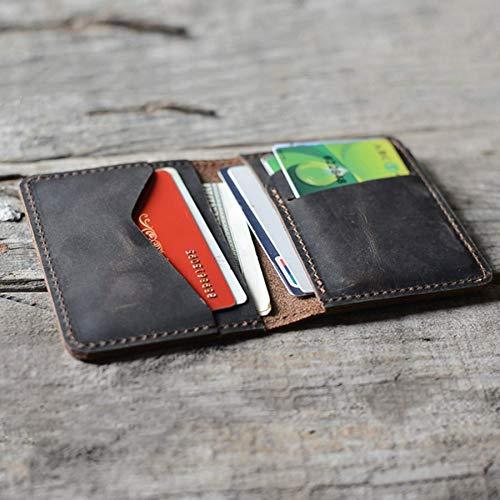 Men Minimalist Leather Wallet Card Holder Distressed Wallets for Gifts DarkBrown (Leather Mens Wallet)