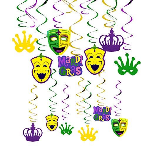 (JBLCC 30PCS Mardi Gras Hanging Swirl Decoration, Mardi Gras Party Crown & Mask Swirl - Mardi Gras Party)
