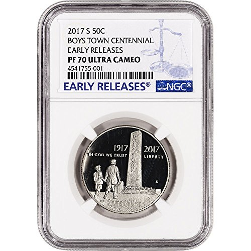 (2017 S US Commemorative Proof Half Dollar Boys Town Early Releases Large Label 50C PF70 NGC UCAM)