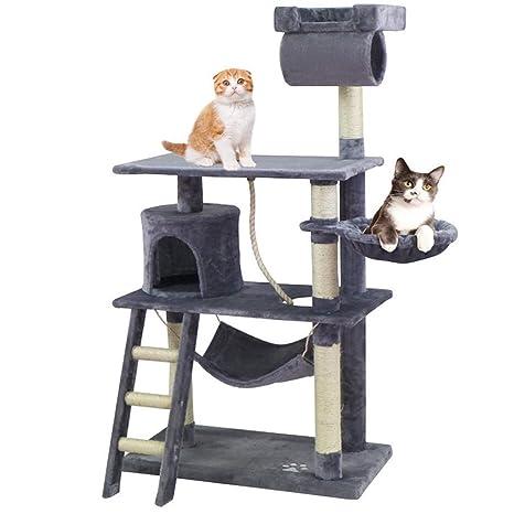 KExing Árboles para Gatos Árbol de Escalada Extra Amplio Cat Climbing Tree Sisal Plush con Game