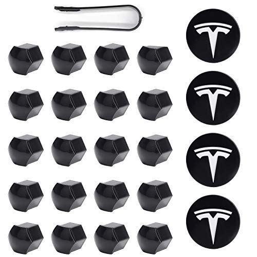 Tesla Model 3, S & X Aero Wheel Cap Kit White (4 Hub Center Cap + 20 Lug Nut Cover)