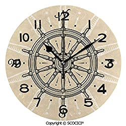 SCOCICI Print Round Wall Clock, 10 Inch Retro Ship Wheel Antique Sailboat Navigation Tool Monochromic Nostalgic Deco Quiet Desk Clock for Home,Office,School