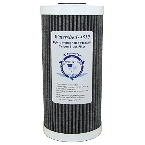 Hybrid Activated Carbon Block Whole House Water Filter, KleenWater Watershed-4510 Chlorine Sediment Sulfur Replacement Cartridge, Solves High Demand Problems with Maximum Filtration