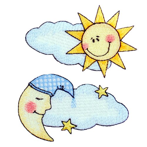 Expo BZP77618 Iron-on Embroidered Applique Bazooples, Moon Cloud and Sun Cloud, 2-Pack