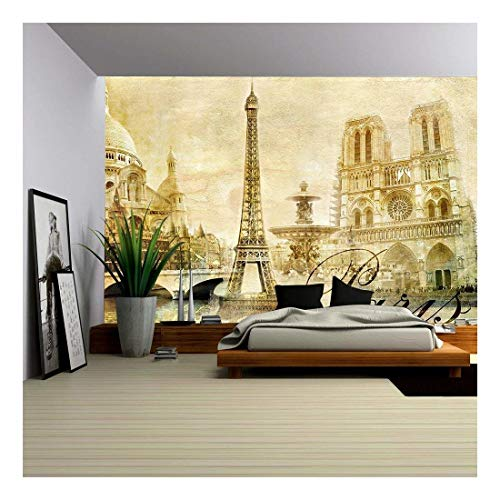 Paris Murals - wall26 - Amazing Paris - Vintage Clipart - Removable Wall Mural | Self-Adhesive Large Wallpaper - 66x96 inches