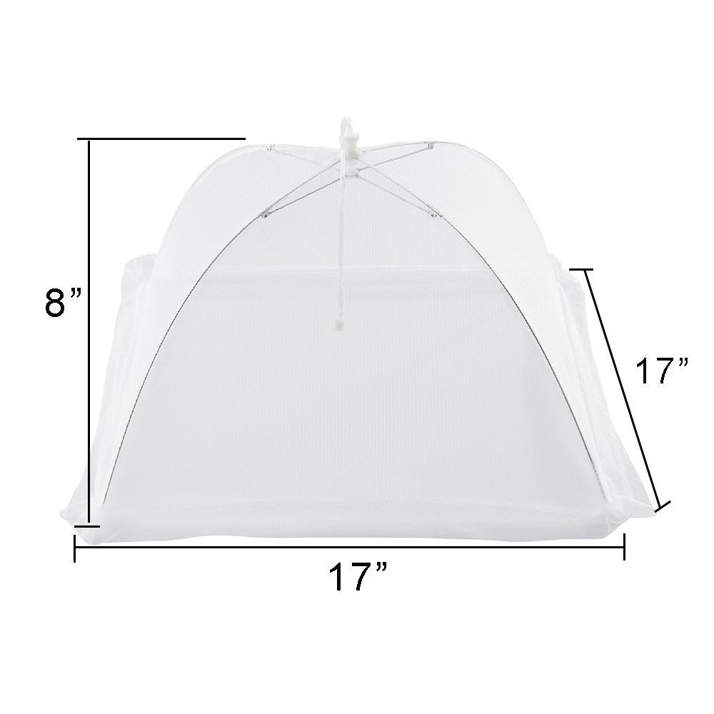 Ohomr Food Cover Set of 4 Large Reusable and Collapsible Pop-Up Mesh Screen Outdoor Picnic Food Net Tent Umbrella Keep Out Flies Mosquitoes Bugs