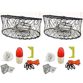 Image of 2-Pack of KUFA Sports Foldable Crab Trap with Red/White Floats, Harness, Bait Bag, Crab Caliper & Non-Lead Sinking Line Combo (CT50+CES1) x2 Canoes