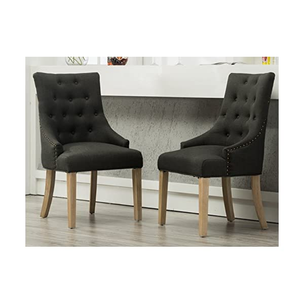 Roundhill Furniture Button Tufted Solid Wood Wingback Hostess Chairs with Nail Heads, Set of 2