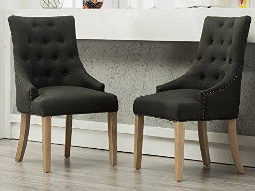 Roundhill Furniture Button Tufted Solid Wood Wingback Hostess Chairs with Nail Heads, Set of 2, Charcoal (Chairs Tufted Dining Upholstered)