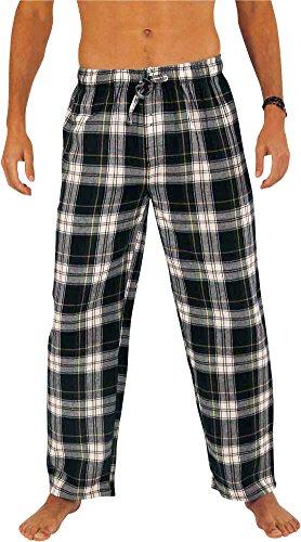 NORTY Mens Cotton Madras Plaid Flannel Sleep Pajama Pant, Green, White 39983-Medium