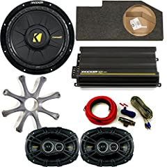 "Kicker for Dodge Ram Crew/Quad 02-15 package 10"" CompD subwoofer in box w/ grille, CX300.4 amplifier, CS 6x9s w/ amp kitThis bundle includes a Kicker 10"" Comp D, with protective Grille and an under seat box designed specifically for Dodge Ram..."