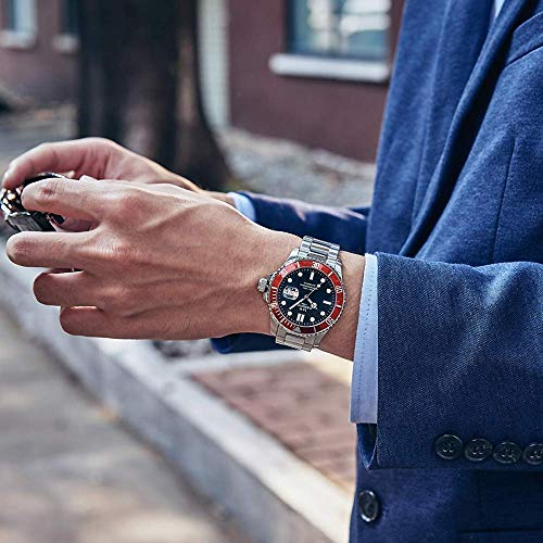 Swiss Brand Luxury Luminous Waterproof Watch Mens Automatic Mechanical Wrist Watch Silver Stainless Steel