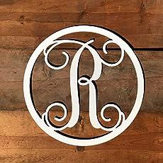 Amazon com: Metal Monogram Letter, Monogram Wreath, Door