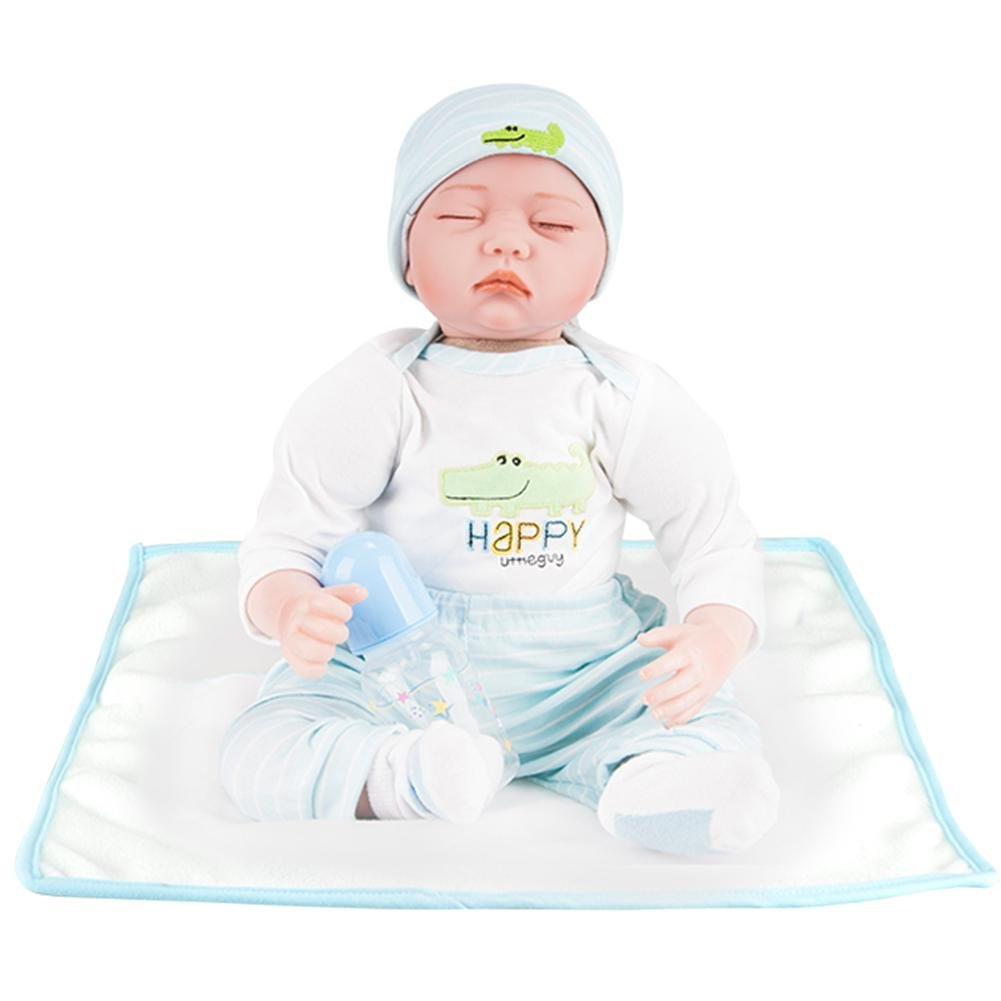 Sky bluee Silveroneuk Simulation Newborn Baby Dolls Soft Silicone Kid Playmate Bathing Toys bluee