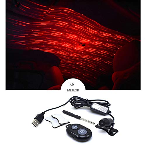 ChYoung Romantic Auto Roof Star Projector Lights Red Meteor Shower Lights LED USB Night Lamp Atmosphere Lamp for Car/Home/Party