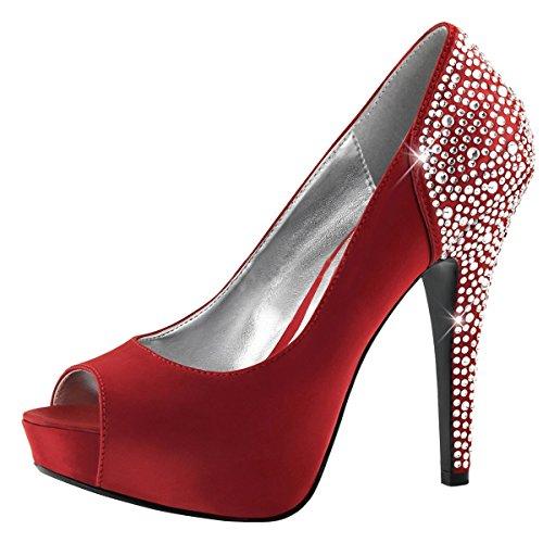 Heels-Perfect - Zapatos de vestir de Material Sintético para mujer Rojo - rojo (rojo)