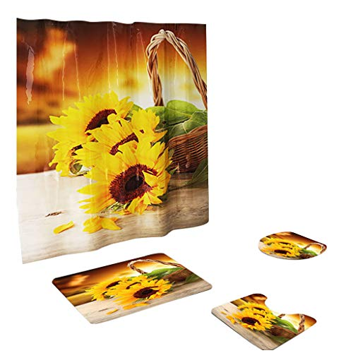 (YAYUMI Sunflower Shower Curtain Toilet seat Set Non Slip Polyester Bathroom Pack of 4)