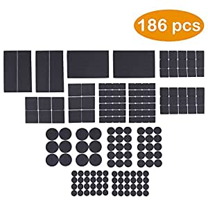 DigHealth Non Slip Furniture Pads - Heavy Duty Adhesive Rubber Furniture Pads to Protect Hardwood Floors-Best Chair Leg Covers and Tiled, Laminate - Large Pack of 186 PCs and Assorted Sizes
