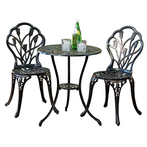 Best Selling Nassau Cast Aluminum Outdoor Bistro Furniture Set Brown  sc 1 st  Amazon.com & Cafe Table Set: Amazon.com