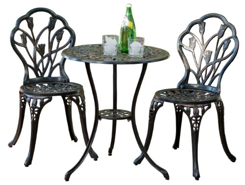 Best Selling Nassau Cast Aluminum Outdoor Bistro Furniture Set, Brown