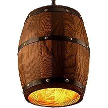 Estilo antiguo Madera barril de vino Hanging Fixture–Lámpara de techo lámpara iluminación bar Cafe luces