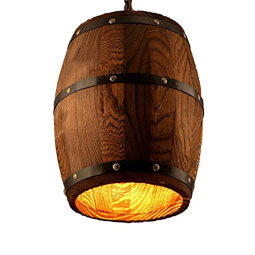 Newrays Antique Wood Wine Barrel Pendant Lamp Hanging Rustic Unique Kitchen Bar Ceiling Lamp Light Fixtures (S)