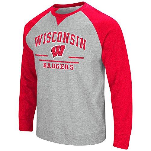 Mens NCAA Wisconsin Badgers Crew Neck Sweatshirt (Heather Grey) - ()