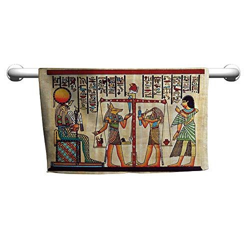 (flybeek Style Towel Egyptian Decor Collection,Papyrus with Egyptian Ancient Manuscript History Picture Print,Ivory Paprika,freestanding Towel Racks for Bathroom)