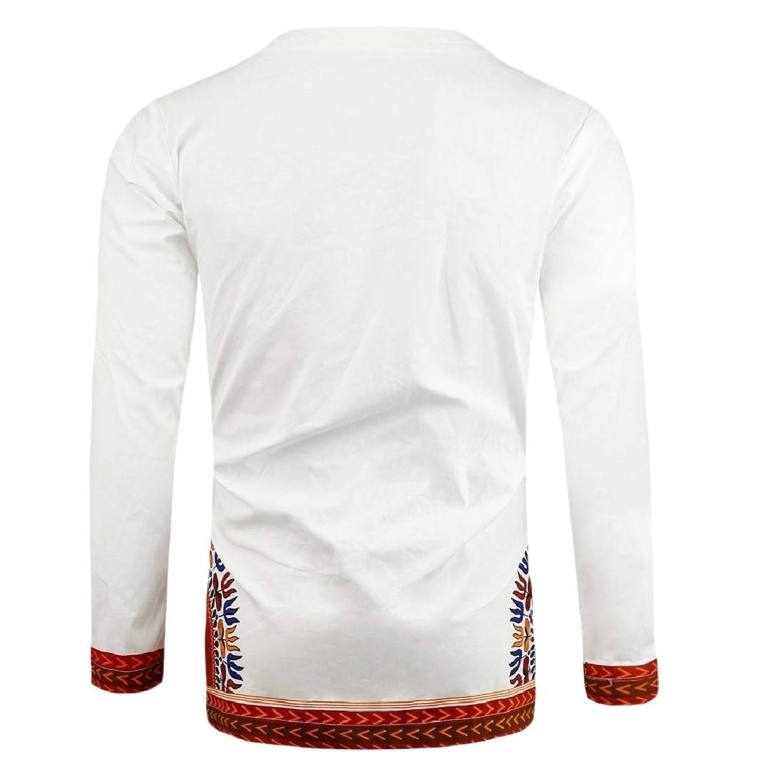 Doufine Men African Floral Folk Style V Neck Tops Slim Fitted T-shirts White S by Doufine--men clothes (Image #3)