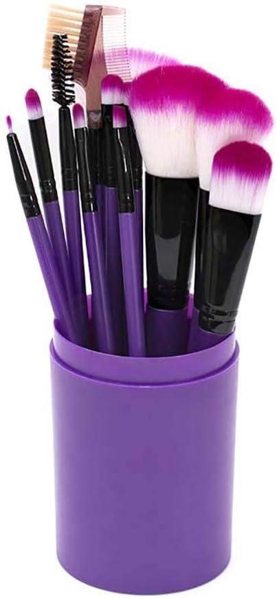 Juego de 7 brochas de maquillaje profesional con soporte para brochas y pinceles de maquillaje, estuche elegante, presentado en una bonita caja de regalo para damas, 17 x 3 cm, color morado: