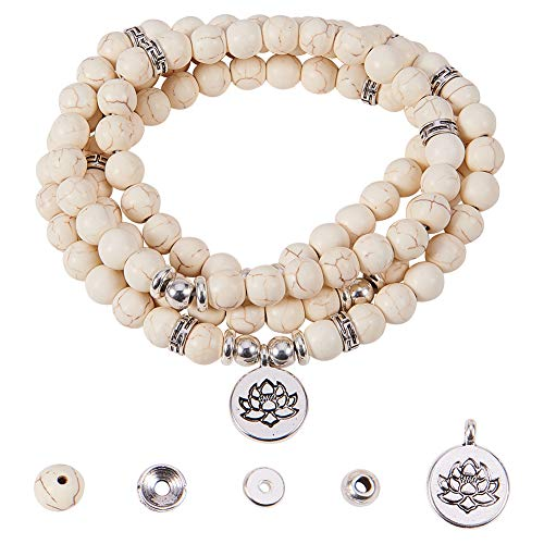 SUNNYCLUE 1 Bag DIY 108 Mala Prayer Beads Wrap Bracelets Necklace Making Kit Synthetic Turquoise Gemstone 8mm Jewelry Starter Kit, Elastic