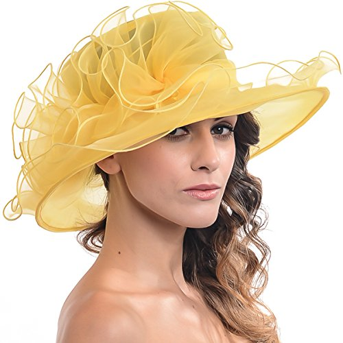 FORBUSITE Women Sheer Kentucky Derby Church Hat Wide Brim Flat Hat with Large Flower S019B (Yellow)