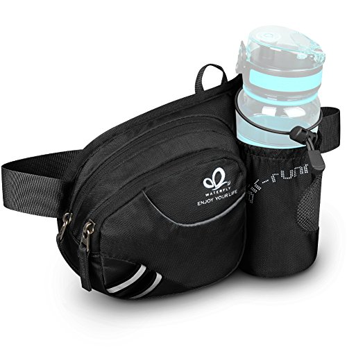 Waterfly Hiking Waist Bag Fanny Pack with Water Bottle Holder for Men Women...