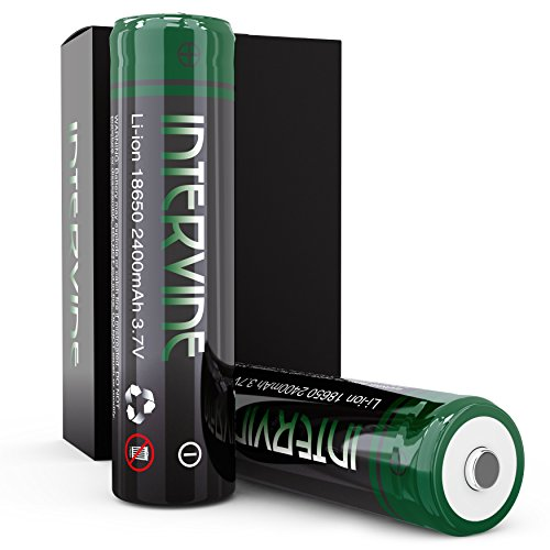 18650 Battery 2 Pack - Intervine High Performance Lithium Ion Battery Pack - 2400 mAh Rechargeable Batteries