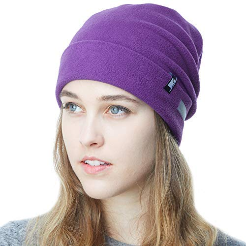 Fleece Junior Hat - THE HAT DEPOT Fleece Winter Beanie Hat Cold Weather Reflective Safety for Men & Women Performance Stretch (Purple)