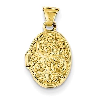 c4a2cce3ceceb Amazon.com: Small Paisley 14K Gold Oval Locket: Locket Necklaces ...