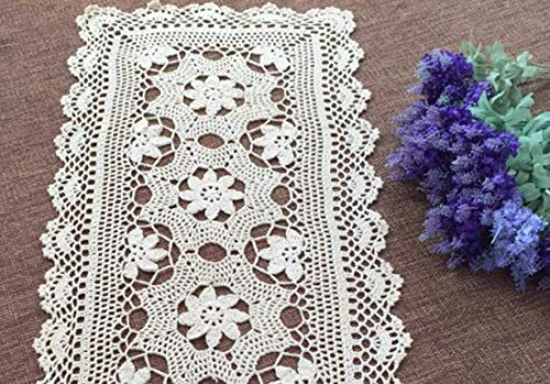 - Damanni Rectangular Cotton Handmade Crochet Lace Table Runner Doilies Table Dresser Scarf,15.7 Inch by 31.5 Inch,Beige