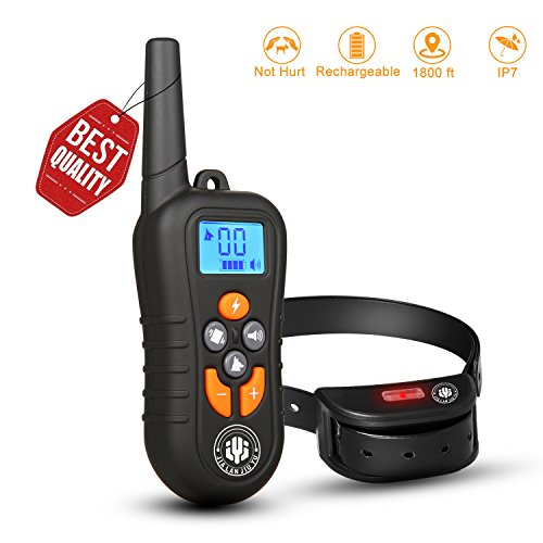 Dog Training Collar,Shock Bark Training Collar is NOT Hurt and Rechargeable and IP7 Level Waterproof with 1800FT Remote Beep/vibration/Shock Electronic Collar for all small and lager size dogs. For Sale