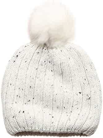 750d2e0bb9d2d MIRMARU Women s Premium Wool Blend Faux Pom Pom Beanie Hat with Plush  Lining.