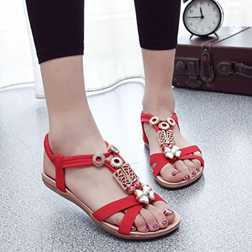 Bohemia Sandals Casual Women Transer Sandals Shoes Comodo Summer Ladies Red Flat zxCxXYgOq