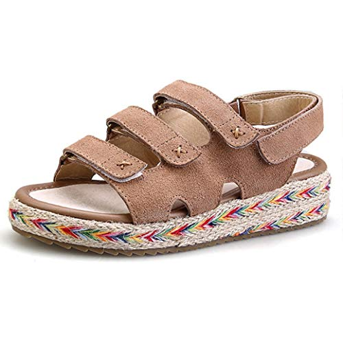 (Women Espadrilles Flatform Sandals Ladies Bohemian Stylish Casual Hook Loop Open Toe Wedge Shoes Khaki)