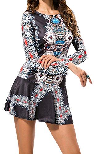 Weiblich Halfter Lange Ärmel Drucken Taille Rock Retro Große Schaukel Kleid  Kurzer Rock