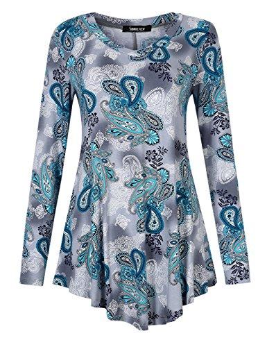 Sunnylady Women Vintage Print Handkerchief Hem Tunic Top Shirt Blue S